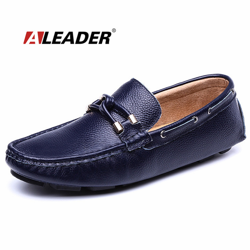 ALEADER Casual Slip On Mens Shoes Autumn Genuine Leather Man Loafers Summer Styles Men Moccasin Boat Shoes Fashion Mens Flats 2016 new fashion autumn real genuine leather formal brand man loafers men s casual croco printed slip on flat shoes glm242