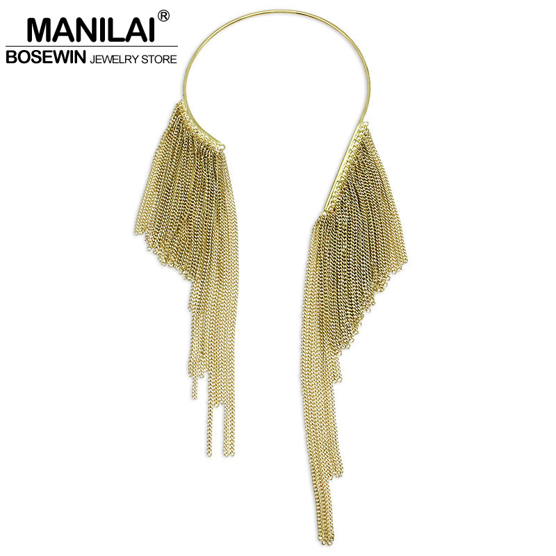 MANILAI Alloy Torques Choker Long Chain Tassel Maxi Necklace Women Accessories Collar Cluster Statement Necklaces & Pendants mjartoria crystal mystic statement necklace women maxi necklace fire pendants