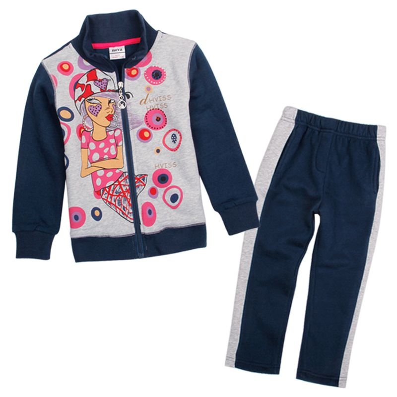 nova kids 2016 sports causal style gilr autumn winter clothes sets prited fashion girl and patten