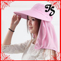 Free Shipping women outdoor wide brim summer beach hat lady removeable UV protection bicycling sun hat