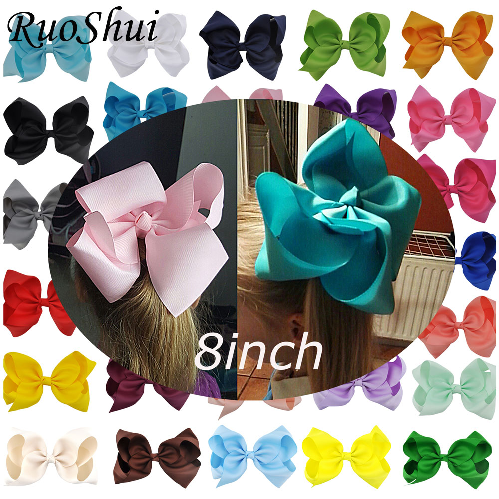 8 tum Big Hair Bow Boutique Solid Grosgrain Ribbon Hairgrips Hair Clips Huvudbonader Barrette Bowknot För Women Girls Accessories