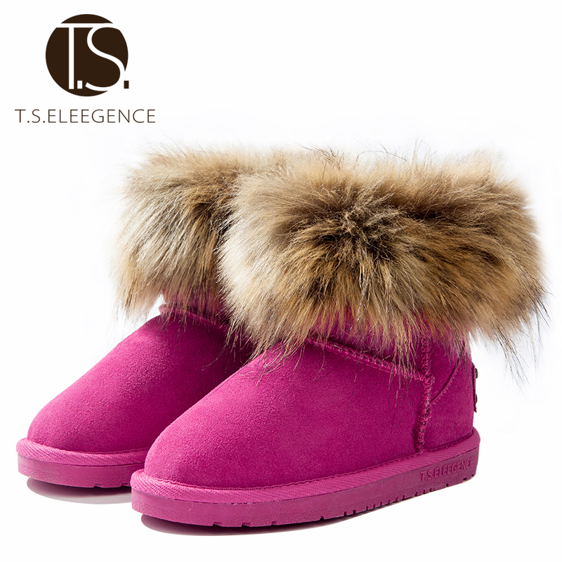 ФОТО T.S. kids boots winter girls shoes Warm Ankle boots kids fur Snow Boots Toddler brown black rose EU Size28-38