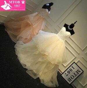 Image 2 - Stylish Sexy Sweetheart Champagne Wedding Dresses Lace Beading Layered Ruffle Skirt Robe De Mariage Acutaul Images MTOB1793