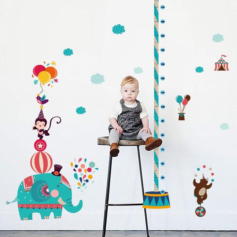Cartoon jungle animal monkey bear elephant wall sticker for kids room home decor growth chart height measure mural art pvc decal