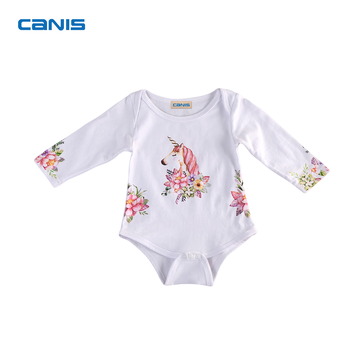 eab54e03e812 White Pink Floral Unicorn Newborn Baby Girls Boy Romper Jumpsuit Infant  Clothes Outfits