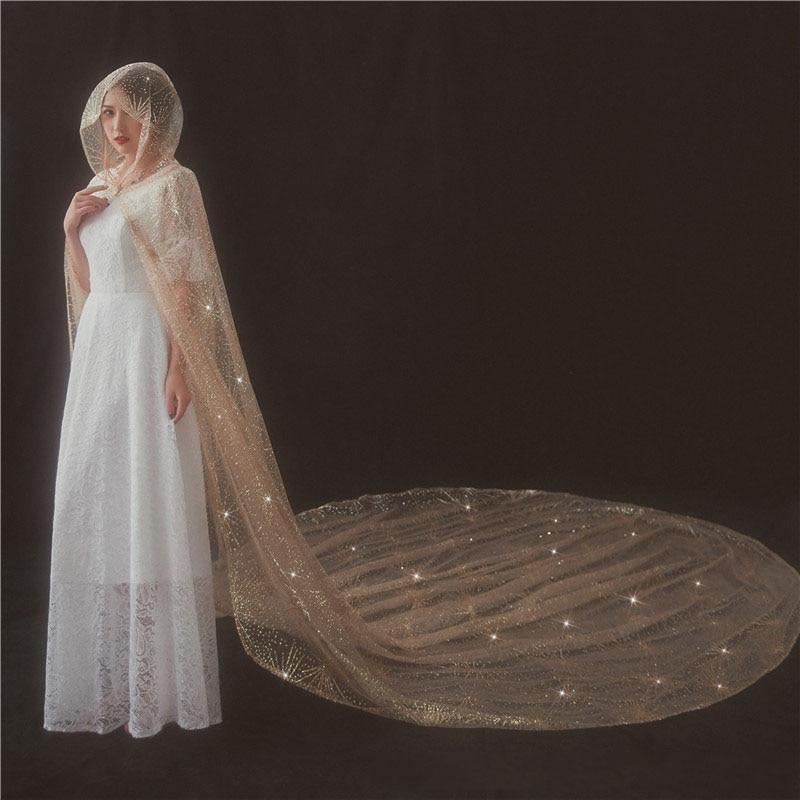 3.5 m Velo Da Sposa Da Sposa Lungo Spray Oro Veli da sposa per la Sposa con Pettine Accessori Da Sposa Cattedrale velos da sposa abiti da sposa 2018