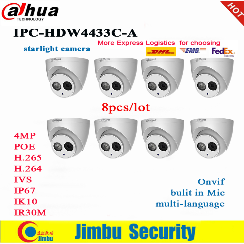 Dahua IP Camera  PoE 4MP IPC HDW4433C A   8pcs/lot Starlight Built in Mic IR30m IP67 Network CCTV Camera Replace IPC HDW4431C A-in Surveillance Cameras from Security & Protection