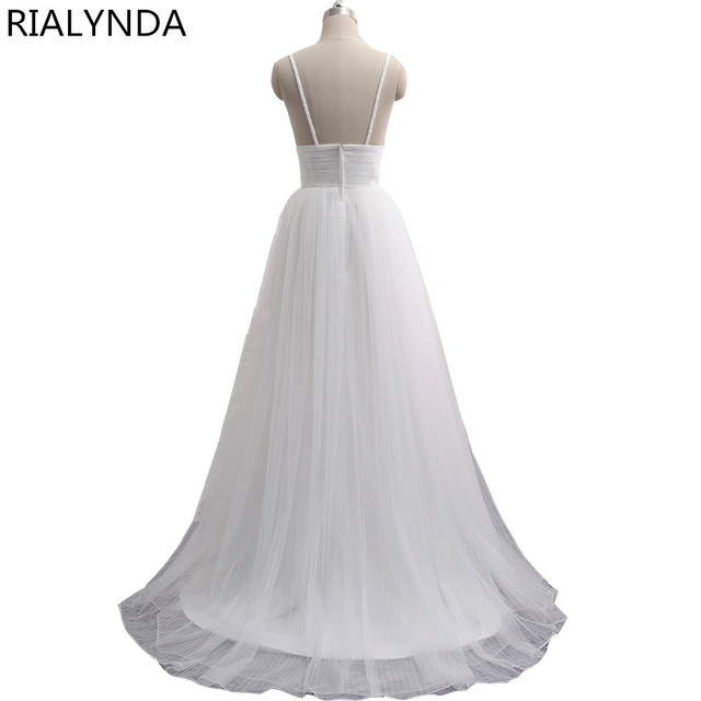 Spaghetti Strap Beach wedding dress Vestido Noiva Praia Simple White Tulle Casamento Sashes Bridal Gown Custom Made
