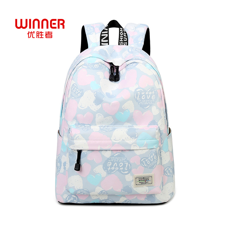 Winner Lovely Heart Printing Backpack Women Nylon Backpack School Bags For Teenagers Ladies Casual Laptop Rucksack Travel 2017