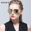 Women Men Sunglasses Fashion New Cat Eye Rose Gold Mirror Sun Glasses Unique Flat Ladies Oculos UV400 RP8009