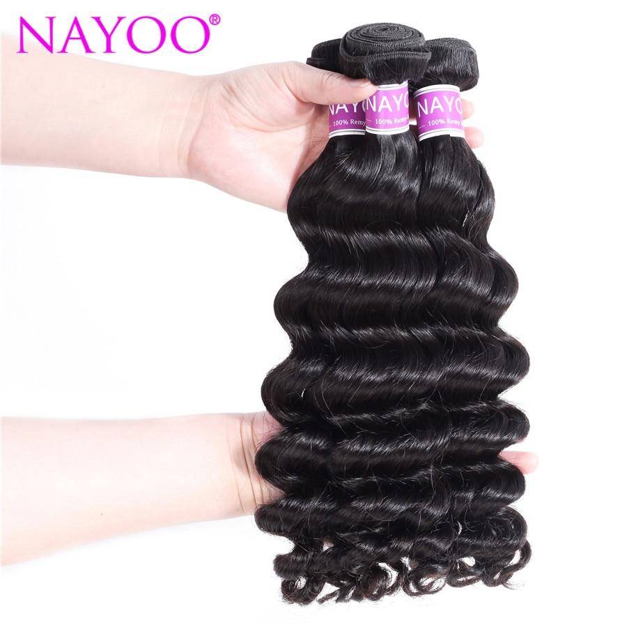 NAYOO No Tangle Loose Deep Mongolian Hair Weave Bundles Natural Color No Shedding Remy Hair Extension 100% Human Hair Bundles