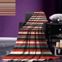 Blanket Vintage Retro Pattern Geometric 60s Style Red Black Teal and Beige Colored Print Warm Microfiber Blanket
