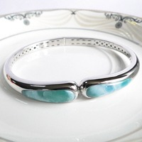 DJ CH Natural Larimar Bangle Bracelets 925 Sterling Silver Bangle Jewelry Gifts for Woman