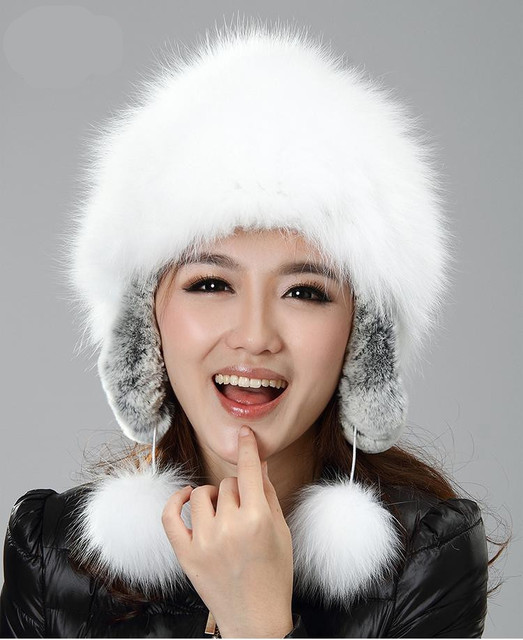 H929-autumn and winter super white natural  fox  and rex rabbit  earflap with fur pompom russian  fashion  fur hat womens