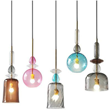 Nordic Stained Glass Pendant Lights Modern Led Candy Pendant Lamp Dining Room Cafe Bar Kitchen Fixtures Decor Lighting Luminaire mediterranean tiffany pendant lights stained glass lamp light for kitchen home decor lighting fixtures vintage led luminaire
