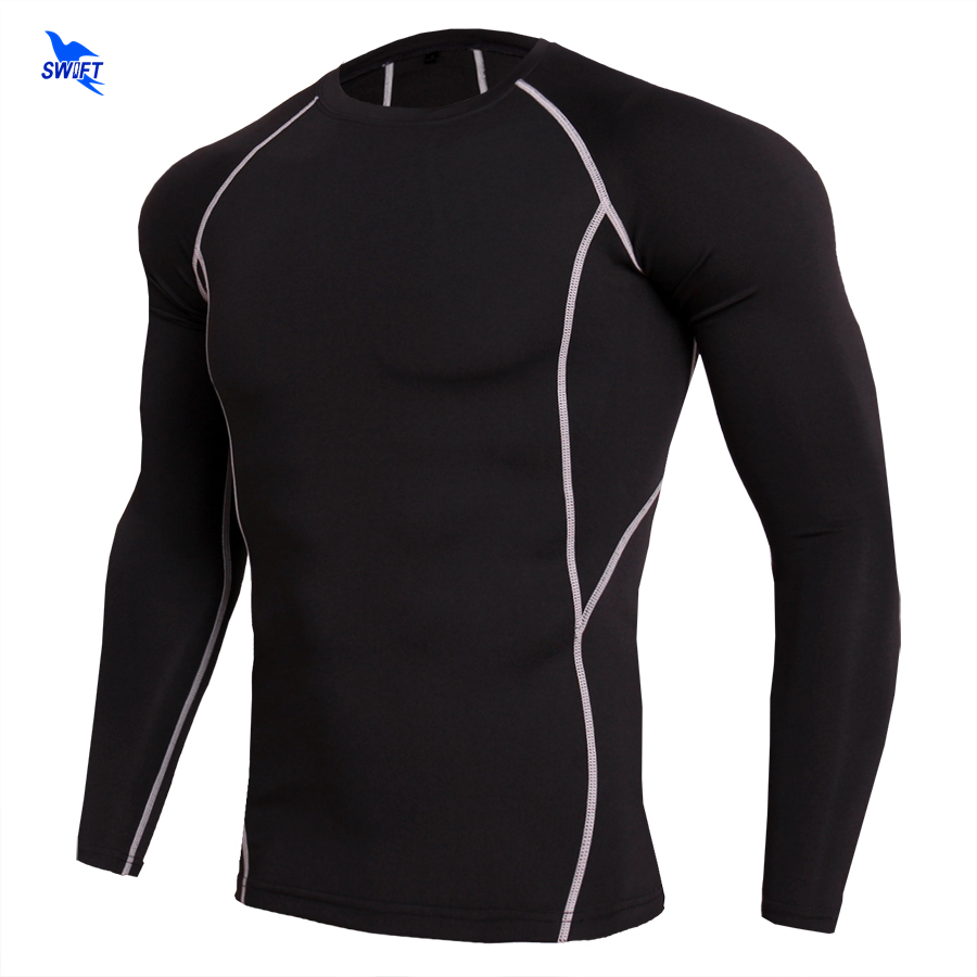 Quick Dry Compression Long Sleeve T Shirt Fitness Running Jogging Cycling Clothes Bodybuilding MMA Tight Tops Sportswear Elastic ...