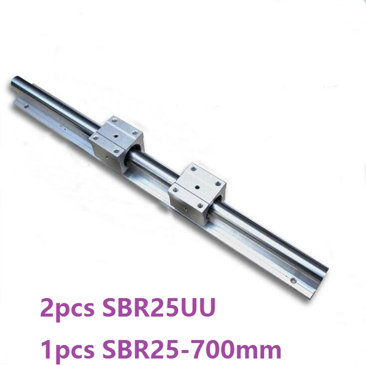 1pcs SBR25 - 700mm linear rail support guide + 2pcs SBR25UU linear bearing blocks for cnc router1pcs SBR25 - 700mm linear rail support guide + 2pcs SBR25UU linear bearing blocks for cnc router