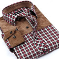 Spring Autumn new men's fashion cotton plaid shirt middle-aged checkered patchwork long-sleeved shirts male large size S-4XL