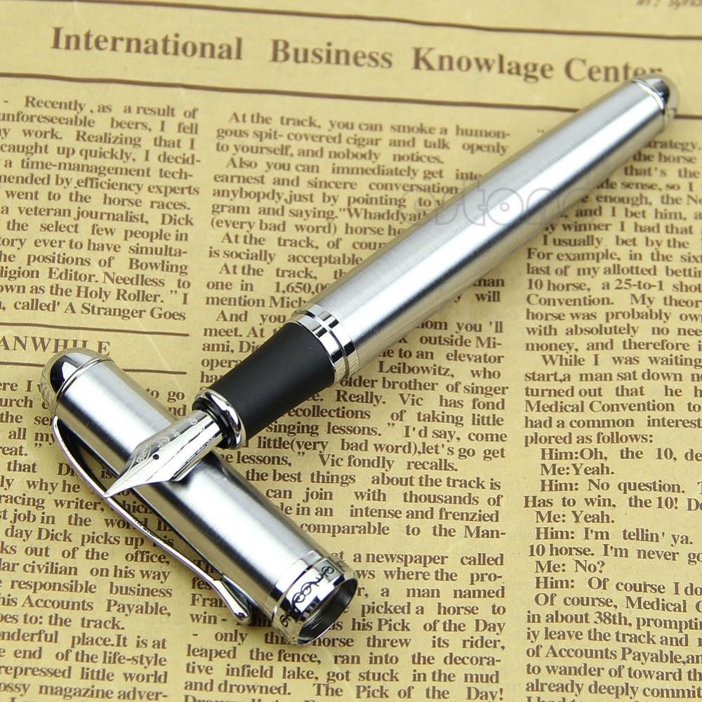 Marque de luxe Jinhao X750 argent en acier inoxydable stylo plume moyen 18KGP Nib école bureau nom encre stylos cadeau papeterie