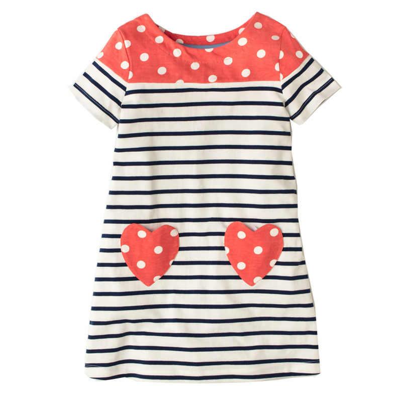 a1442d65de37004 ... Летнее платье для маленьких девочек детская одежда 2018 Vestidos платье  принцессы аппликация с животными Детские Единорог