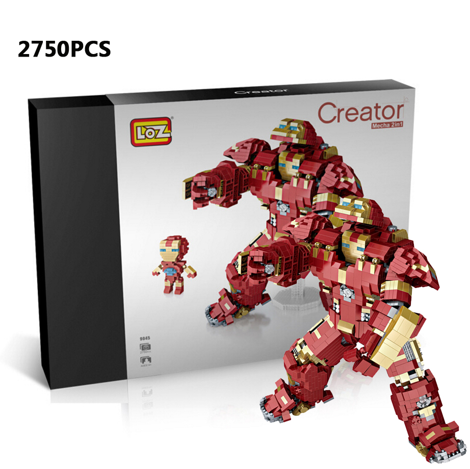 Loz mini diamond building block marvels super heroes avenger 2in1 ironmans Hulkbuster mk44 nanoblock model brick toys collection цена