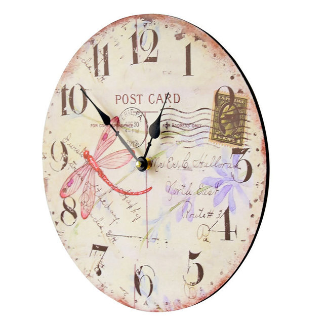 POST CARD Butterfly Wall Clock Wood Vintage Silent Watch Wall Hanging Home large decorative Clocks