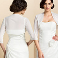 (Use Your Size)Top Qulaity White Organza Bolero Jacket For Evening Dresses Gown Three Quarter Sleeves