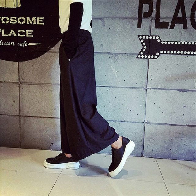 HZIJUE Men Wide Leg Trousers Linen Male Fashion Casual Harem Pant Japan Style Comfortable Skirt Pant 6