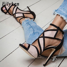 Eilyken New Desiger Sexy Women Sandals Hollow out Buckle Strap High Heels Bridesmaid Bridal Wedding Pumps Sandals size 35 40