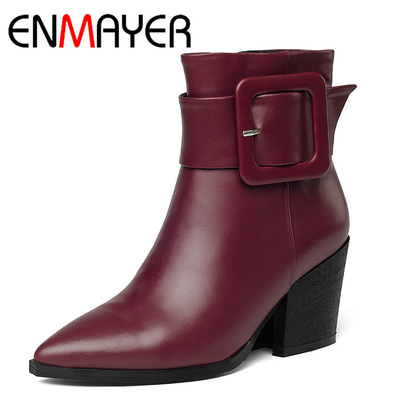 ФОТО ENMAYER 2016 The Latest Pointed Leather Zipper High Heels Ankle Boots for Women Classic Black Shoes Woman Latest Size 34-40