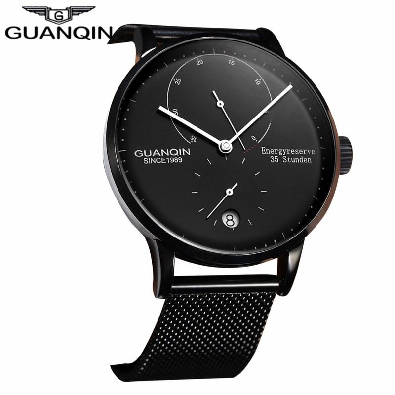 3bde6b69451 GUANQIN Homens Top Marca De Luxo de Negócios Automático Data Malha Strap  Watch Moda Homem de Aço Completa Relógio Mecânico relogio masculino em  Relógios ...