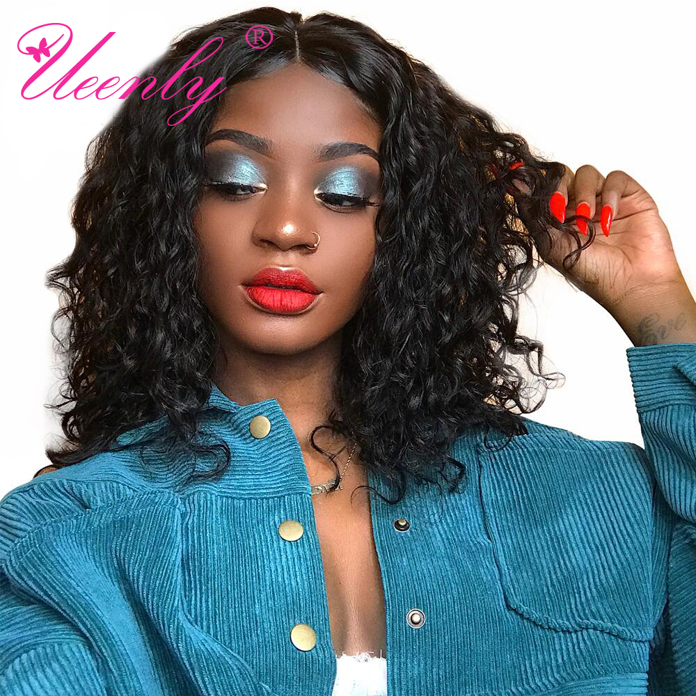 Curly Bob Short Human-Hair-Wigs Lace-Front Pre-Plucked Black Women Brazilian Remy