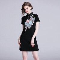 Vestido negro verano vintage negro bordados y apliques 4