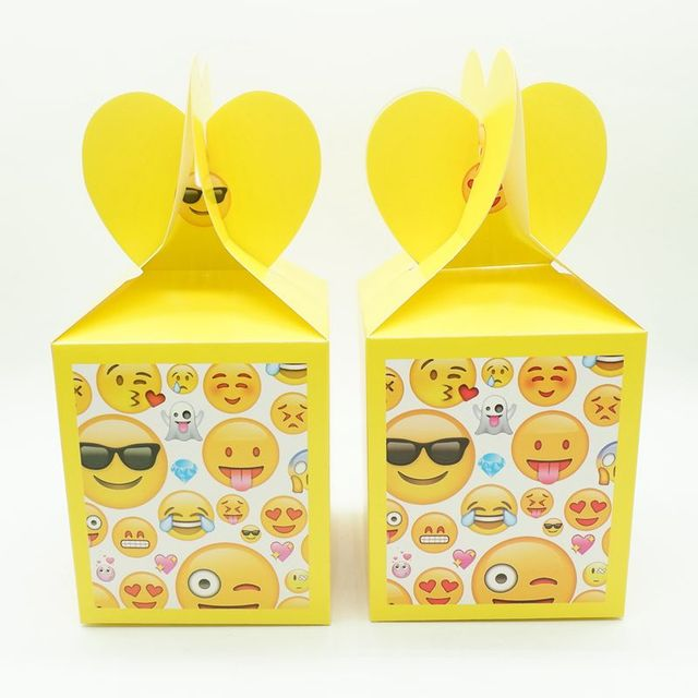 12pcs Lot Emoji Theme Cartoon Paper Bags Baby Shower Souvenirs Gift Candy Boxs Birthday Party
