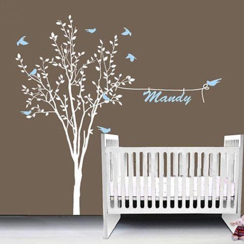 Бесплатная доставка березовые Деревья настенные наклейки дерево настенные стикеры Съемные белые березовые обои деревья для детской комна