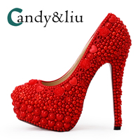 Women Wedding Shoes Red Color Crystal High Heel Bride Pumps with Pearls for Banquet Dress Custom Made Formal Dress Rhinestone