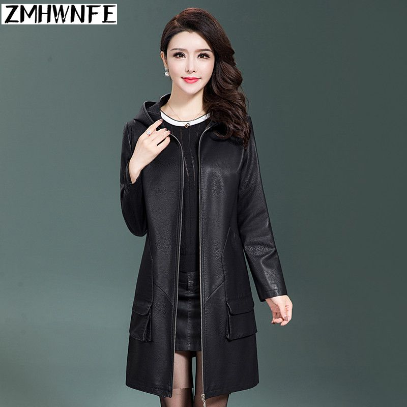 Jaqueta De Couro Feminino Promotion Zmhwnfe 2018 Women's Mid-length Coat Ladies Loose   Leather   Trench Color Hooded Zipper Jacket