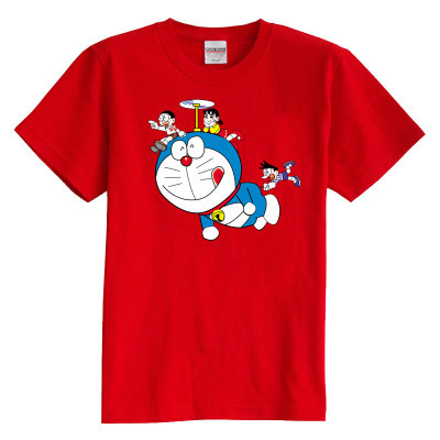 Children's T shirt summer short sleeve 100% cotton girl boy kids  t shirt doramon Viking pattern t shirt