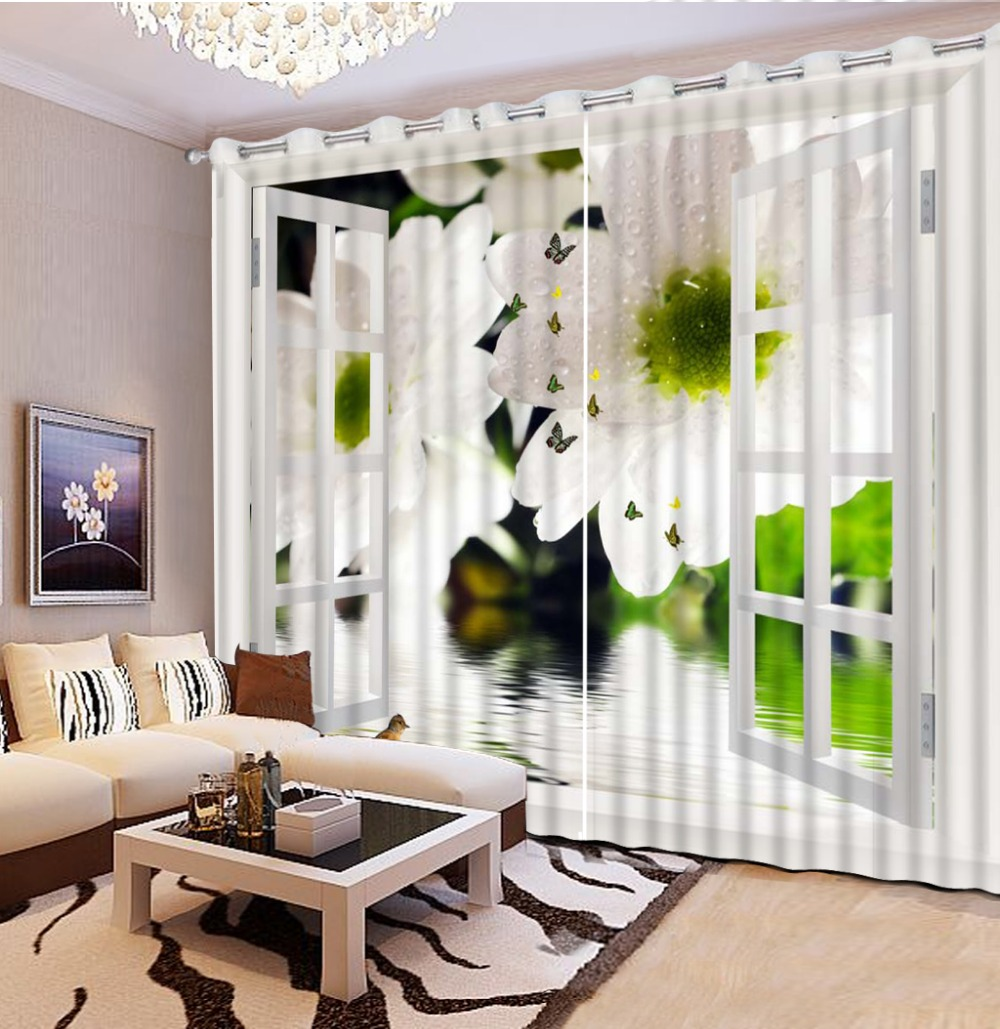 Photo Customize size decorative window curtains white flower 3D ...