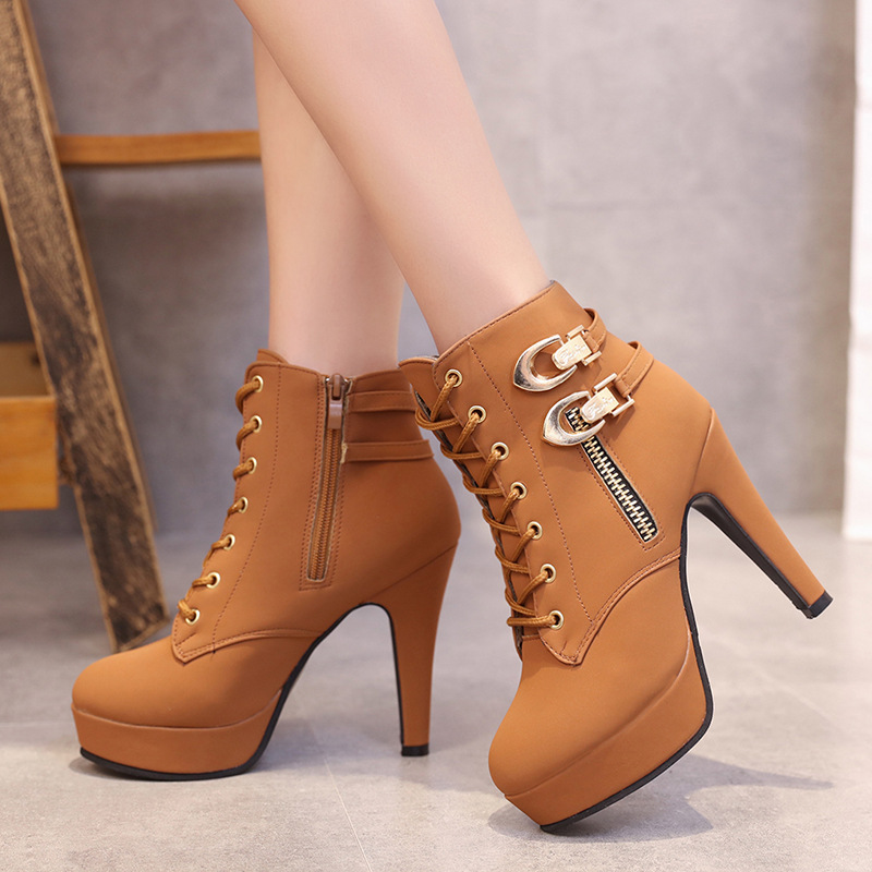 YeddaMavis Women Boots 11CM Super High Heels Lace Up Women Shoes New British Style Brown PU Waterproof Zipper Boots Shoes Woman in Ankle Boots from Shoes