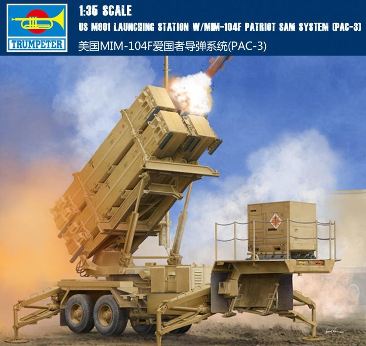 Trumpet 01040 1:35 American MIM-104F Patriot missile system (PAC-3) Assembling model mim mim mi046ewish32