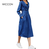 Autumn Spring V Neck Collar jeans dress casual long sleeved Slim thin women 's denim t shirt dress elegant lady clothes WICCON