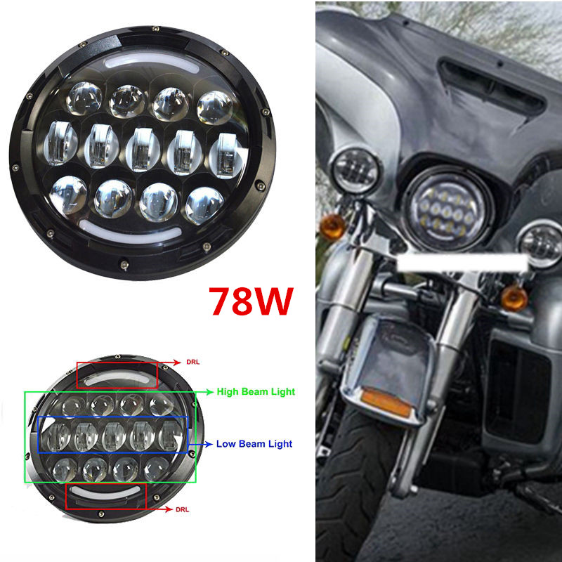 7'' 78W Black led headlight/Headlamp High/low Beam with DRL 7INCH Daymaker Projector Headlight for Harley Davidson Motorcycle black chrome 7 hid led headlight with halo drl projector daymaker driving headlamp angel eyes for harley davids motorcycle