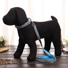 Pet Products Dog Collar Lead Set Leopard Adjustable Leash Puppy Harness Durable Accessories Cat Pink Blue