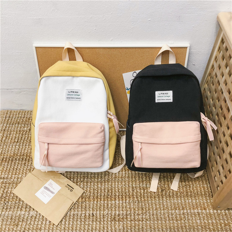 Image 4 - JOYPESSIE Fashion Korean Simple Cotton Backpack for Teenagers Travel Bagpack Male/Female School Backpack Stachels Rucksack-in Backpacks from Luggage & Bags