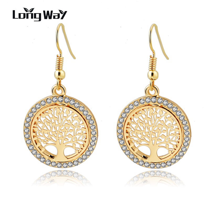 LongWay Gold Color Crystal Dangle Earring With Tree Of Life Pendant Vintage Women Smykker Øreringer Brinco Ser160008