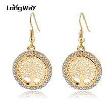 Женские Висячие серьги longway Винтажные золотого цвета с кристаллами