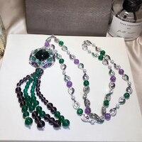 Бренд класса люкс 925 Серебряные ювелирные изделия для Для женщин Банкетный кулон зеленый кристалл Цепочки и ожерелья кисточкой бисера Цепо