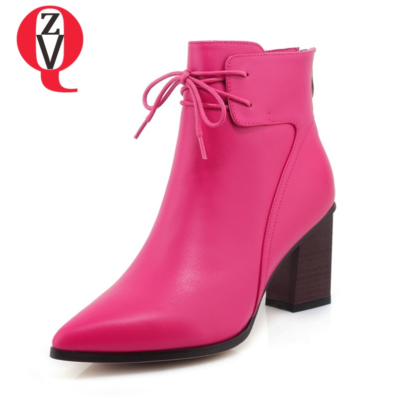 ZVQ Genuine Leather ankle boots big size booties 7cm high heels pointed toe lace side zipper good quality office women shoes odetina 2018 new fashion genuine leather thin high heels ankle boots for women pointed toe lace up booties stilettos side zipper
