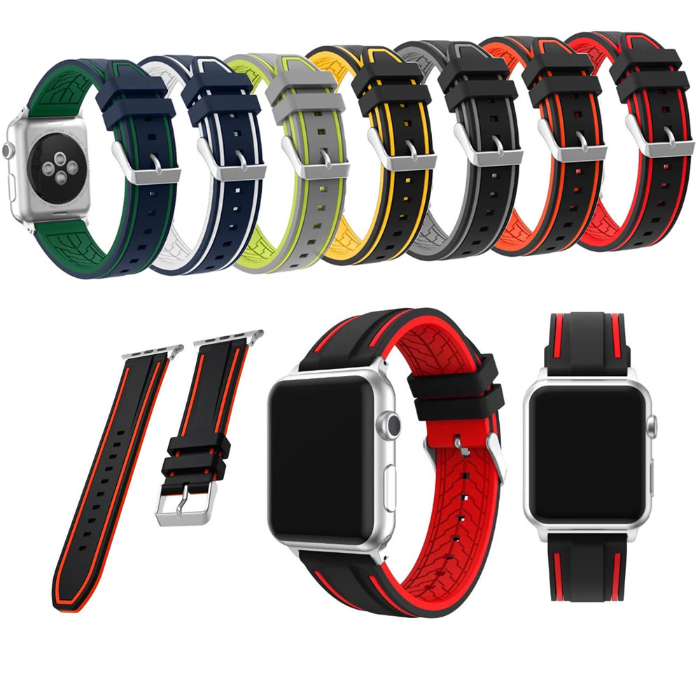 LEONIDAS New Double Color Mixed Silicone Watch Band for Apple Watch Series 1/2 38/42mm Sports Strap Smart Watch Belt Replacement leonidas genuine leather double tour for apple watch band replacement extra long watch strap for apple watch bands 42mm and 38